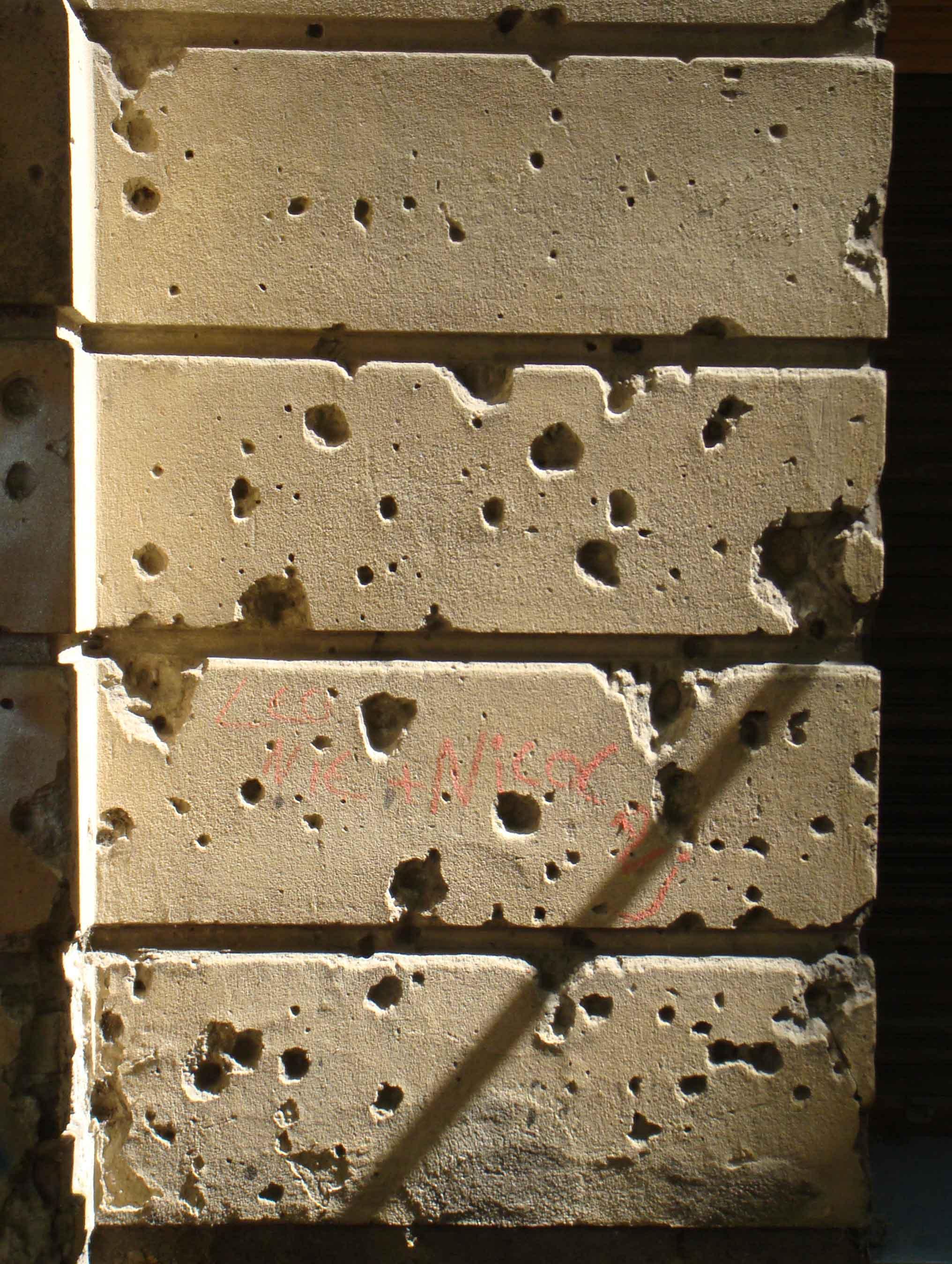 Berlin bullet holes in wall