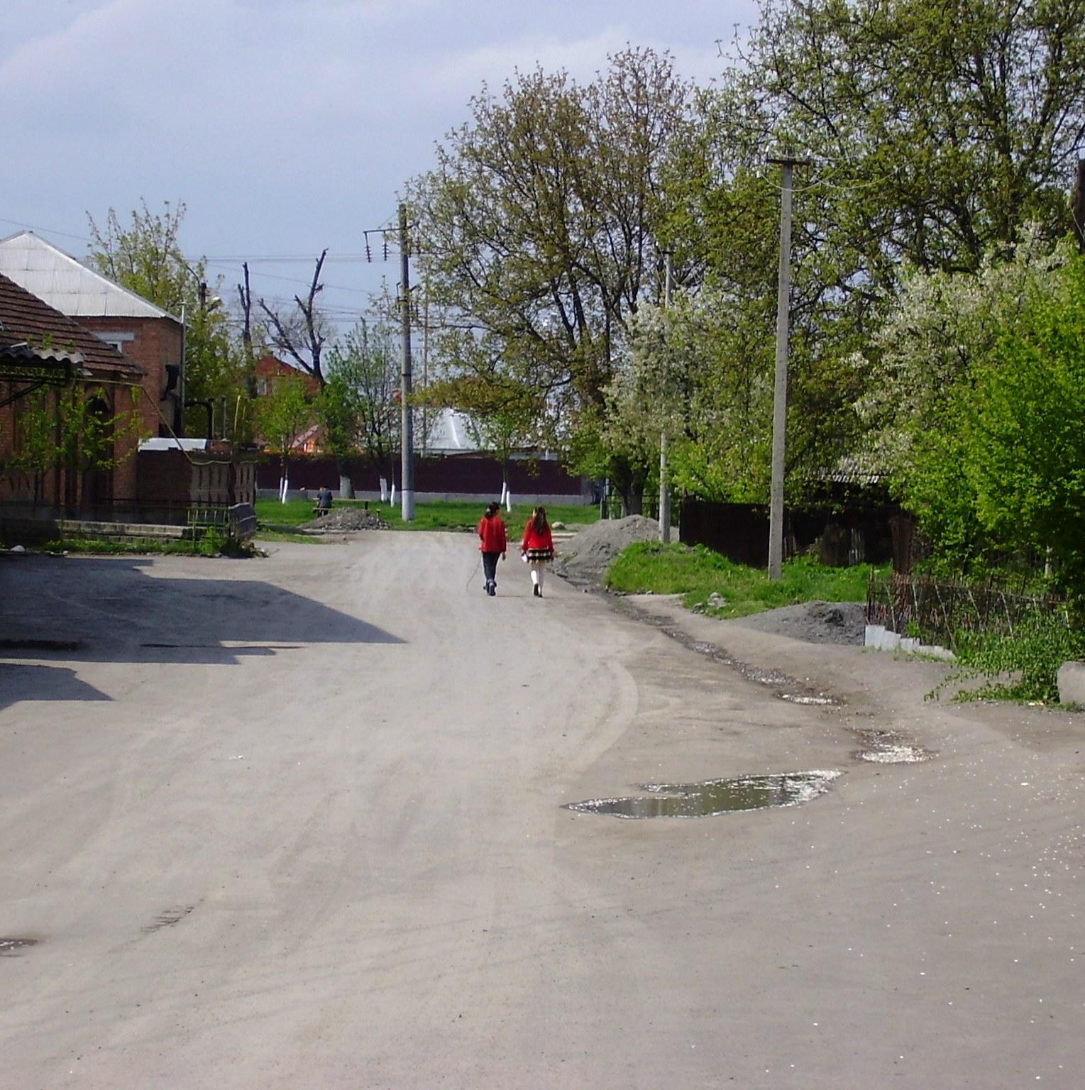 Girls walking in Beslan