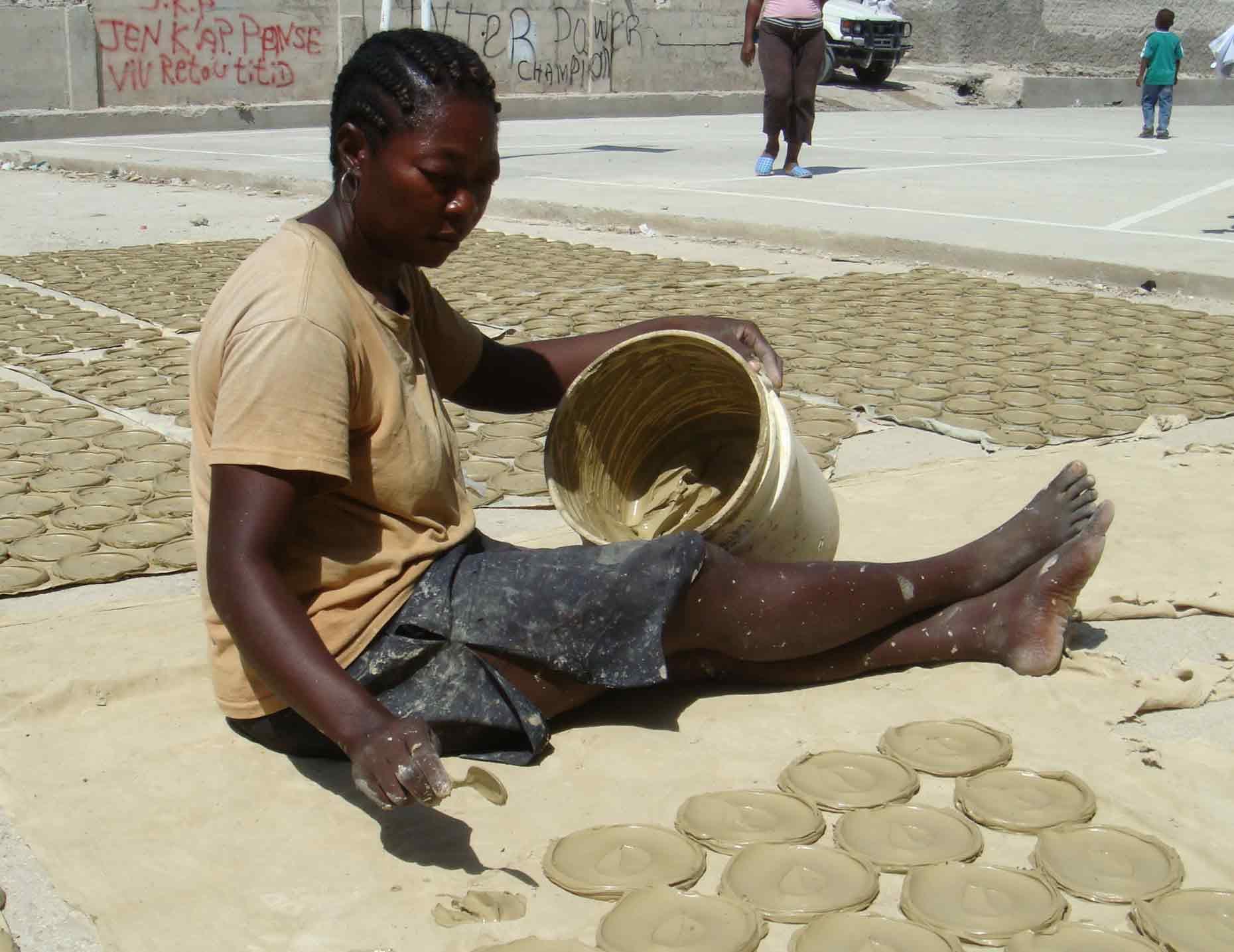 Making mud cakes in Haiti
