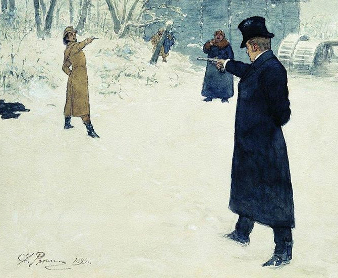 painting of scene from Evgenii Onegin